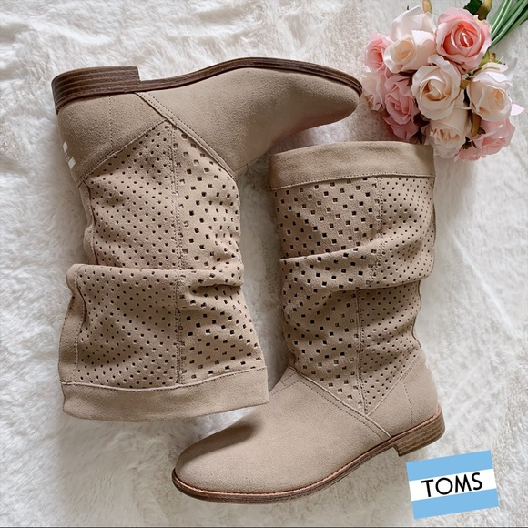 Toms Shoes - TOMS Serra Oxford Suede Perforated Slouch Boots
